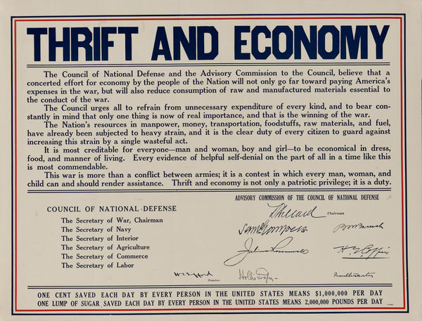 Thrift and Ecomony,  Original American WWI Poster