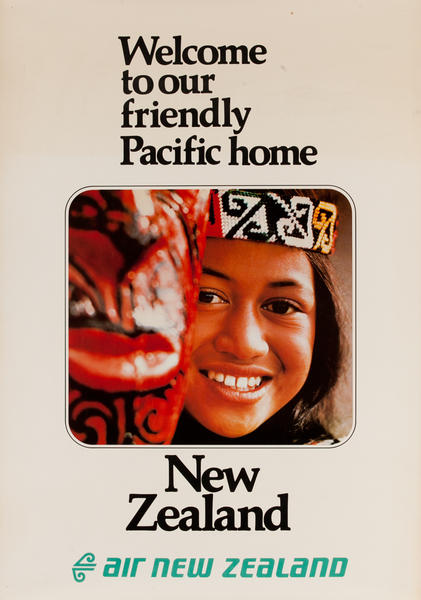 Welcome to our friendly Pacific Home, New Zealand, Original Air New Zealand Travel Poster
