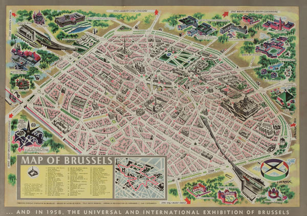 Original Belgium Travel Brochure, Map of Brussels
