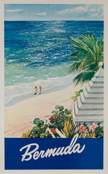 Bermuda Original Travel Poster, Couple on Beach