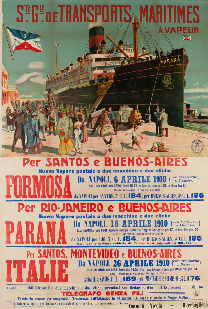 Ste Gie de Transports Maritimes, Original Italian Migrant / Cruise Ship Poster To South America, Formosa, Parana, Italie