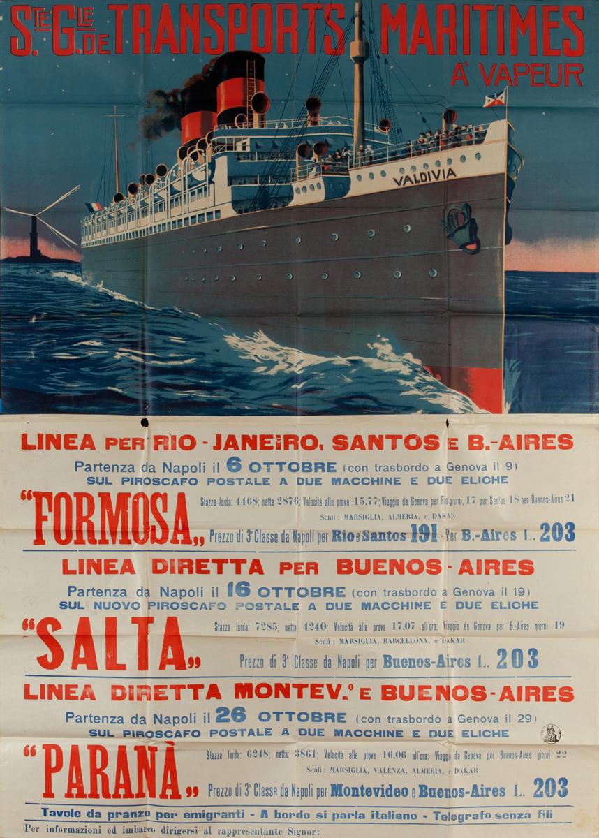 Ste Gie de Transports Maritimes, Original Italian Migrant / Cruise Ship Poster To South America, Formosa Salta Parana