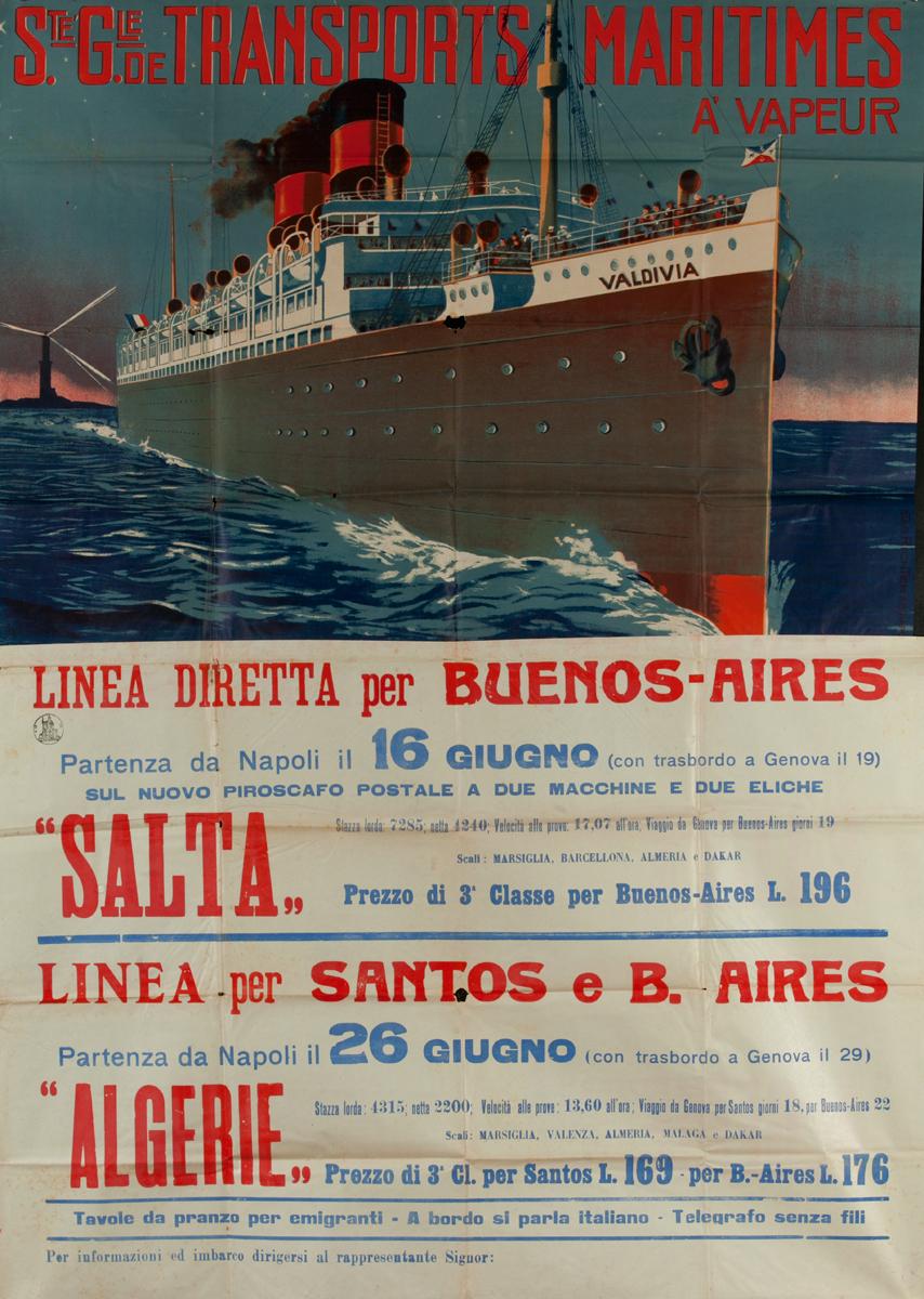 Ste Gie de Transports Maritimes, Original Italian Migrant / Cruise Ship Poster To South America, Salta Algerie