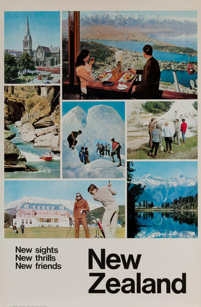 New sights, New thrills, New Friends, New Zealand, Original Travel Poster, montage