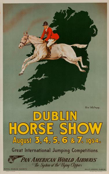 Dublin Horse Show, Original Pan American World Airways Travel Poster