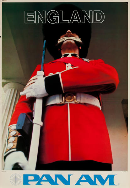 England, Pan Am Original Travel Poster, English Guard Photo