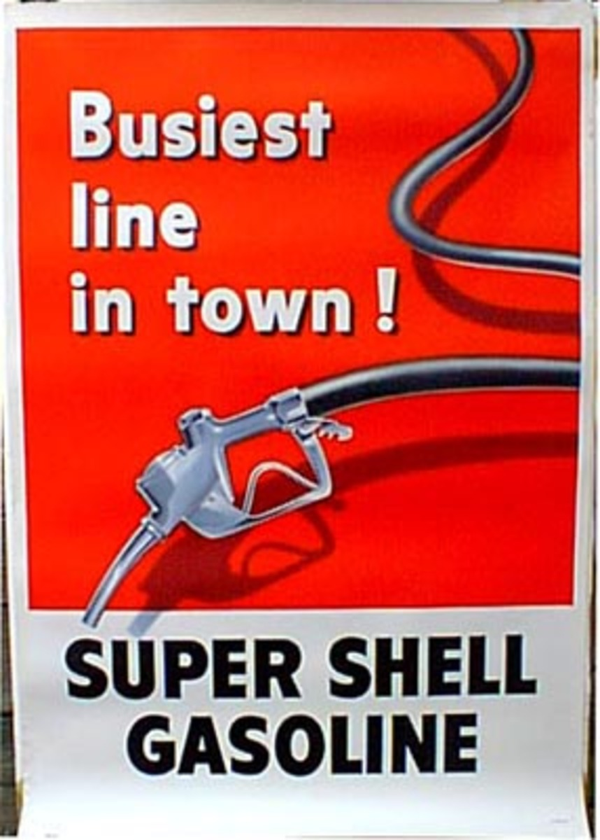 Original Vintage Shell Oil Advertising Poster Busiest Line in Town