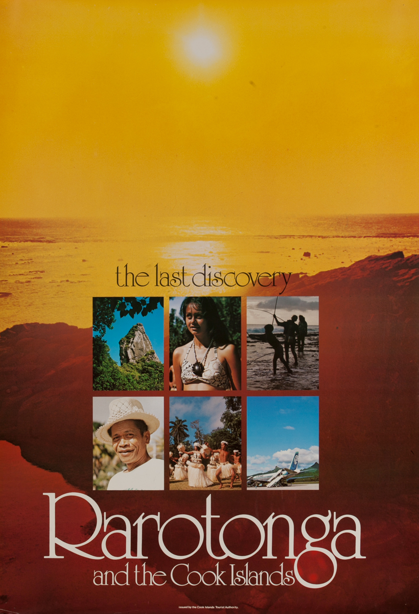 The Last Discovery Raratonga and the Cook Islands Original Pacific Ocean Travel Poster