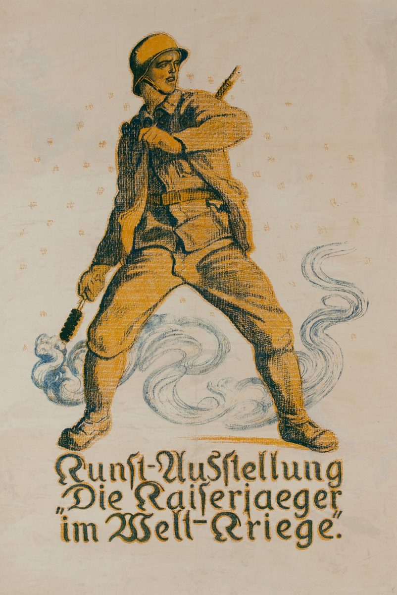 Another Soldier WIth A Hand Grenade, Original German WWI Poster
