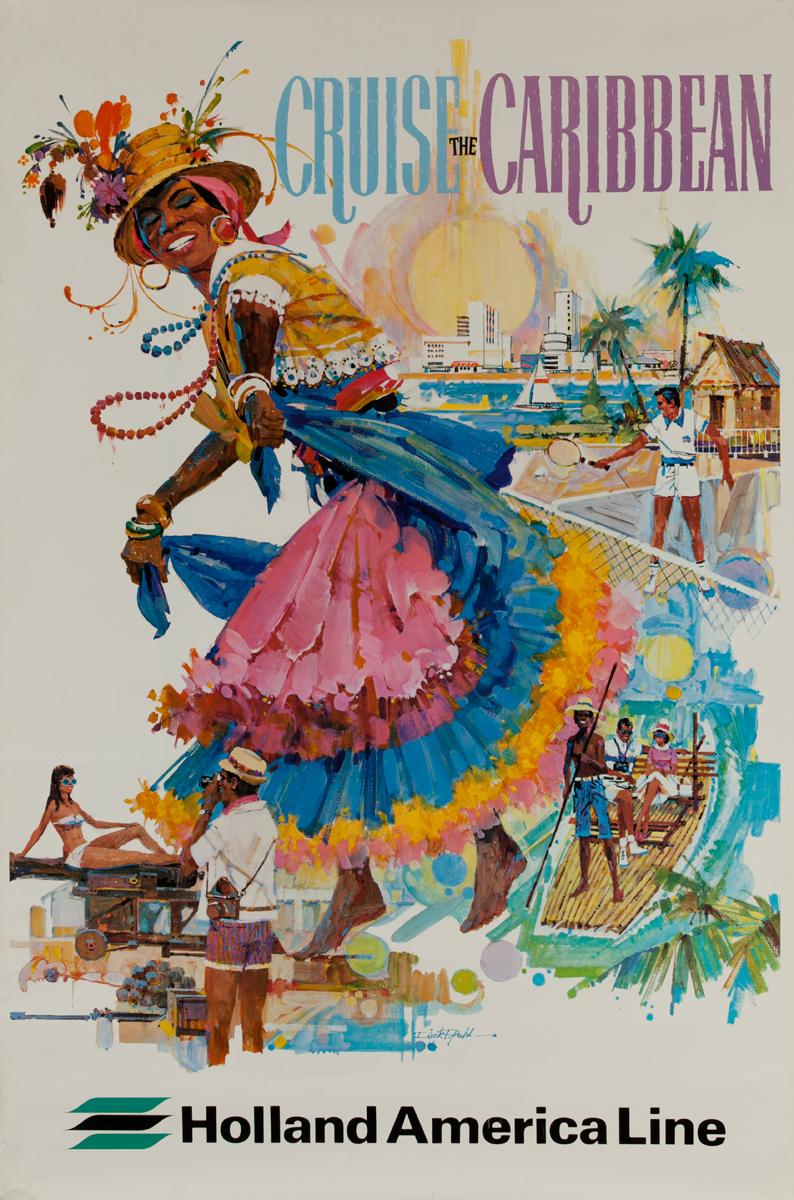 Cruise the Caribbean, Original Holland America Line Cruise Travel Poster