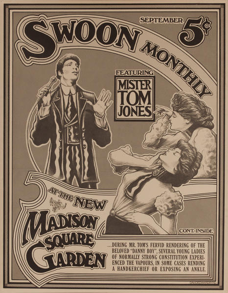 Swoon Montly Featuring Tom Jones at the New Madison Sqare Garden, Original Concert Poster
