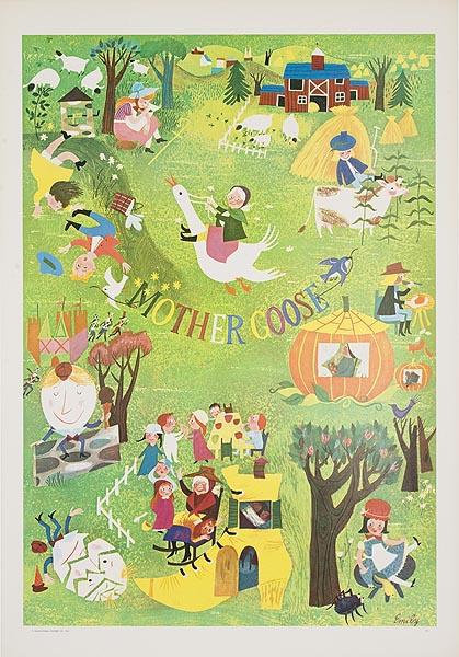 Original Educational Poster Mother Goose