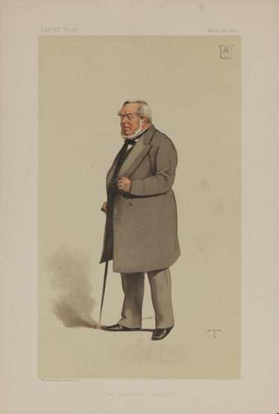 An Eminent Builder, Vanity Fair Caricature Lithograph by T, Sir Charles James Freake Bt