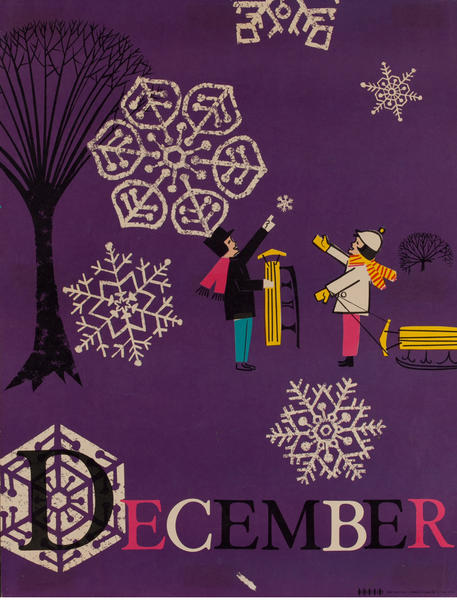 December Snowflakes, Color Print Holiday Poster Series, School Print