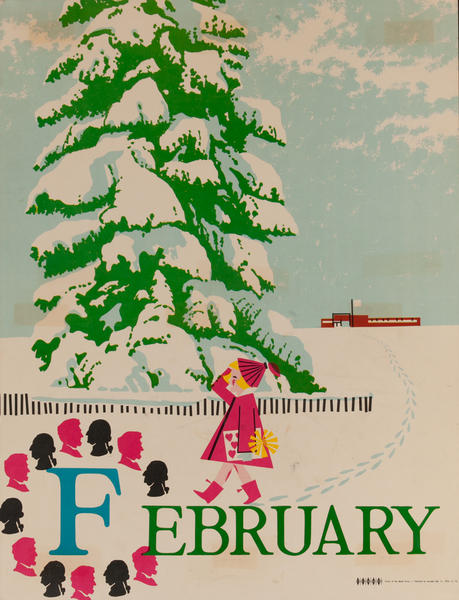 February, Color Print Holiday Poster Series, School Print