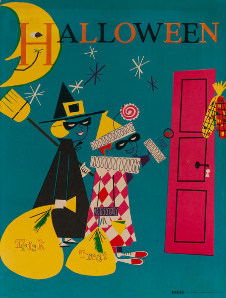 Halloween Childern Trick Or Treating, Color Print Holiday Poster Series, School Print