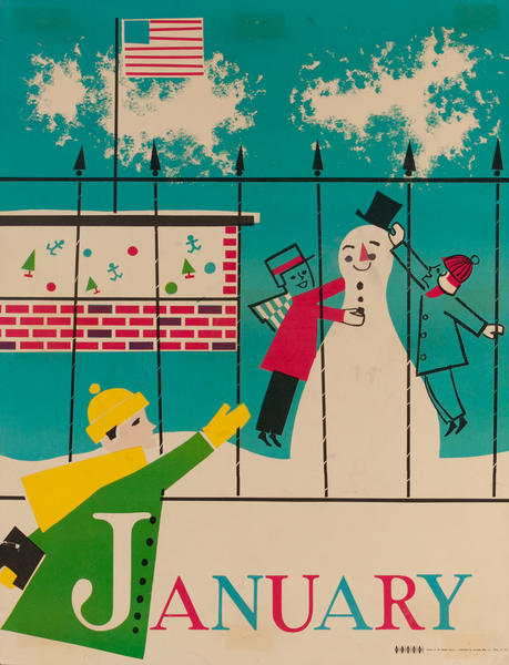 January Snowman, Color Print Holiday Poster Series, School Print