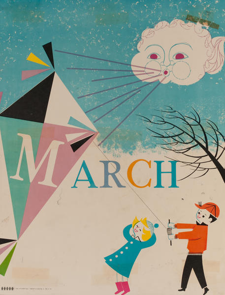 March Kite, Color Print Holiday Poster Series, School Print