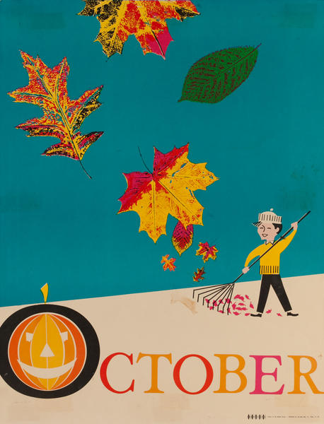 October, Raking Leaves, Color Print Holiday Poster Series, School Print
