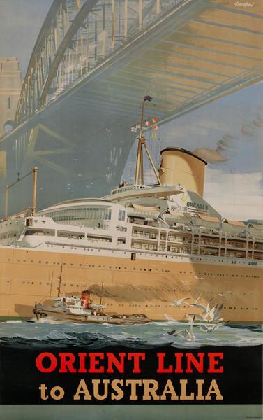 Orient Line to Australia Crusie Ship Poster, Sydney Harbor Bridge