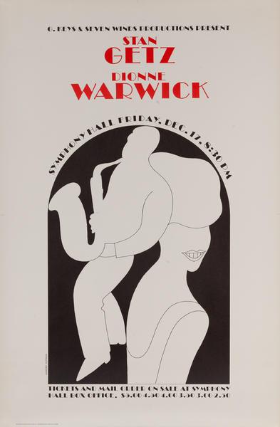Stan Getz - Dionne Warwick, Symphony Hall Concert Poster