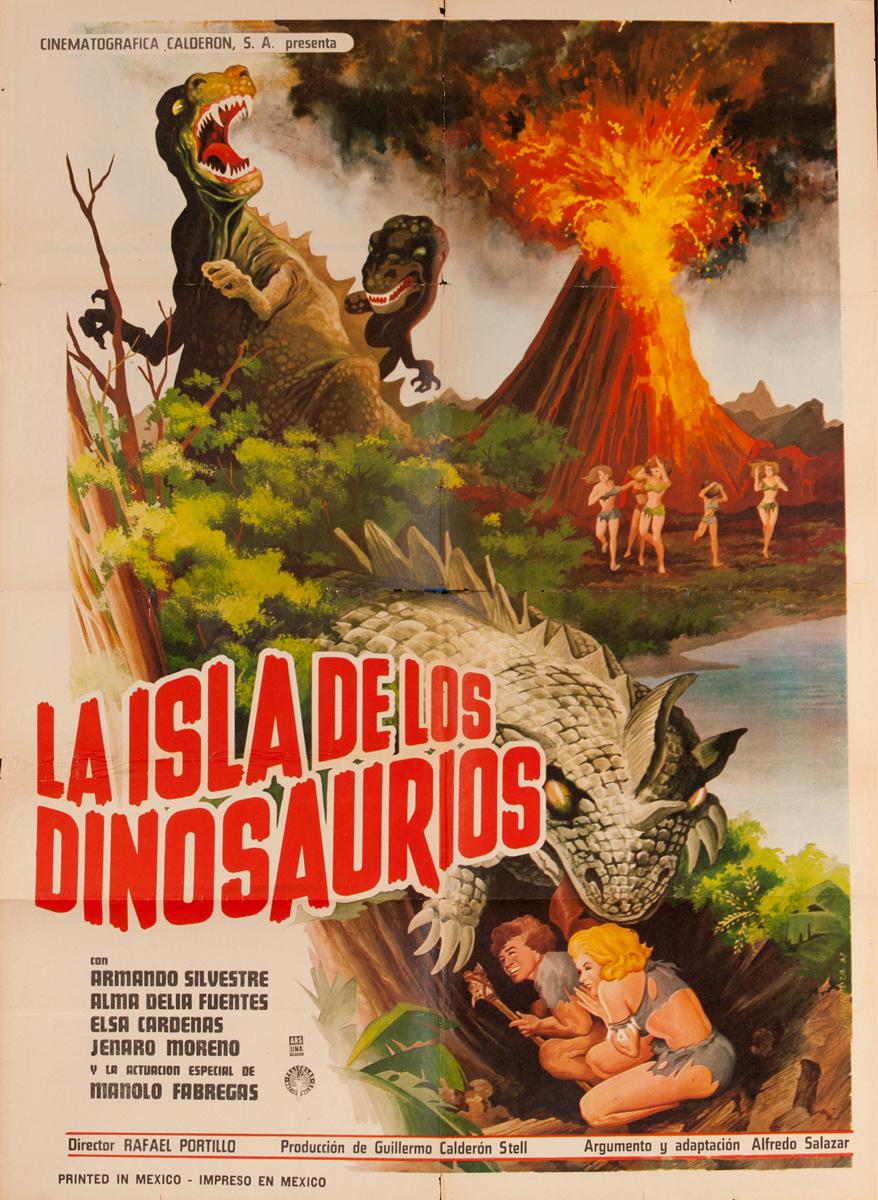 La Isla de Los Dinosaurios, Mexican Movie Poster, Dinosaur Island