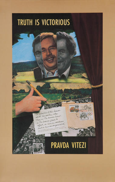 Truth is Victorious Pravda Vitezi Political Poster