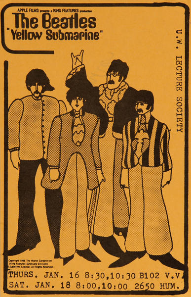The Beatles Yellow Submarine, Movie Poster  U.W. Lecture Society
