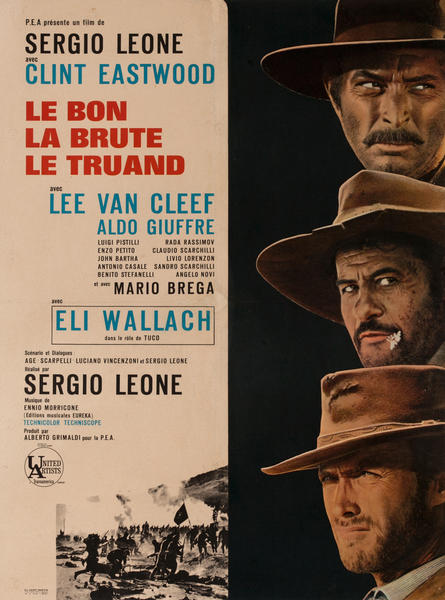 The Good, The Bad, and the Ugly, French Release Movie Poster, Bon La Brute Le Truand