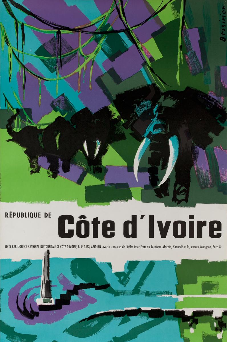 République de Côte d'Ivoire Travel Poster, Elephants