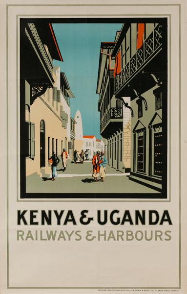 Kenya & Uganda Railways and Harbours African Travel Poster