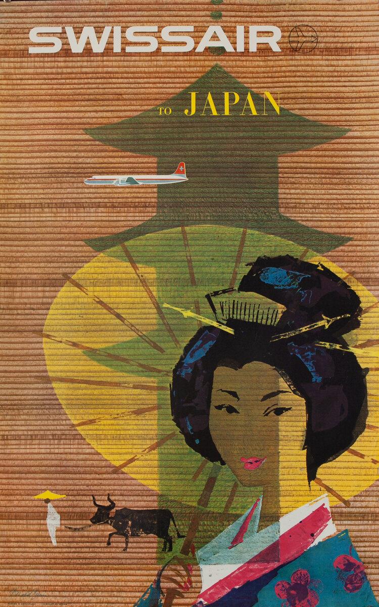 Swissair to Japan Travel Poster, Geisha