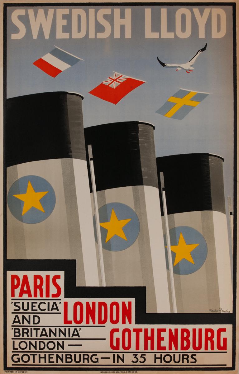 Swedish Lloyd, Paris, London, Gothenburg Cruise Line Poster
