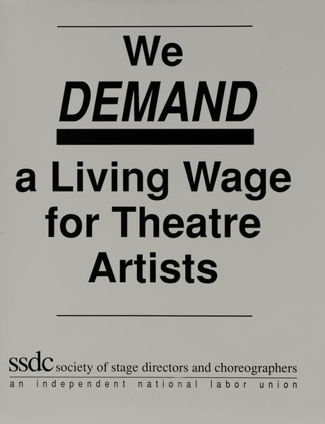 We Demand a Living Wage for Theatre Artists, Society of Stage Directors and Choreographers, Protest Poster