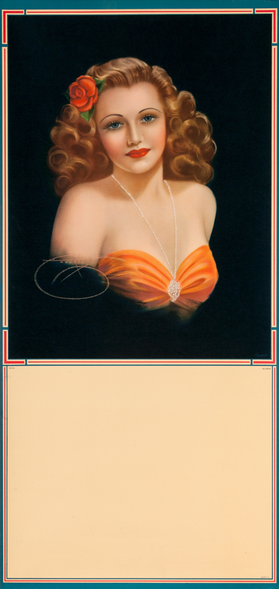 Portrait of Woman with Red Flower, Pin Up