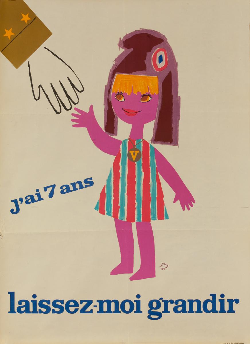 J'ai 7 ans Laissez Moi Grandir, Charles De Gaulle French Political Poster