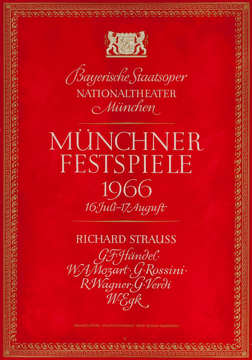 Bayerische Staatsoper Munchner Festspiele Concert Poster