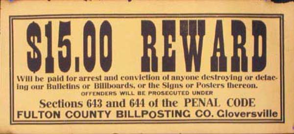 Original Gloversville NY Reward Poster $15