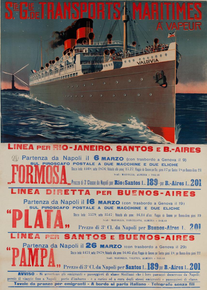 Ste Gie de Transports Maritimes, Original Italian Migrant / Cruise Ship Poster To South America, Formosa Plata Pampa