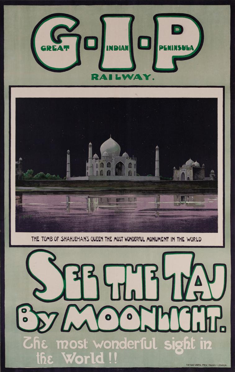 Great Indian Peninsula Railway Poster, See The Taj by Moonlight