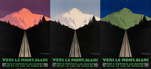 Vers le Mont Blanc, Par St Gervais Les Bains Et Le Col De Voza, PLM Travel Poster Tryptich