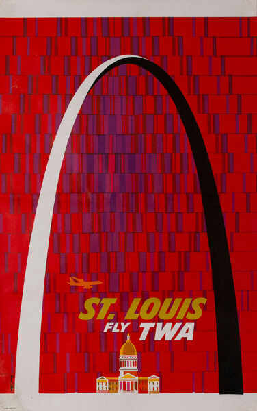 Fly TWA, St Louis Arch Travel Poster, Up Up and Away