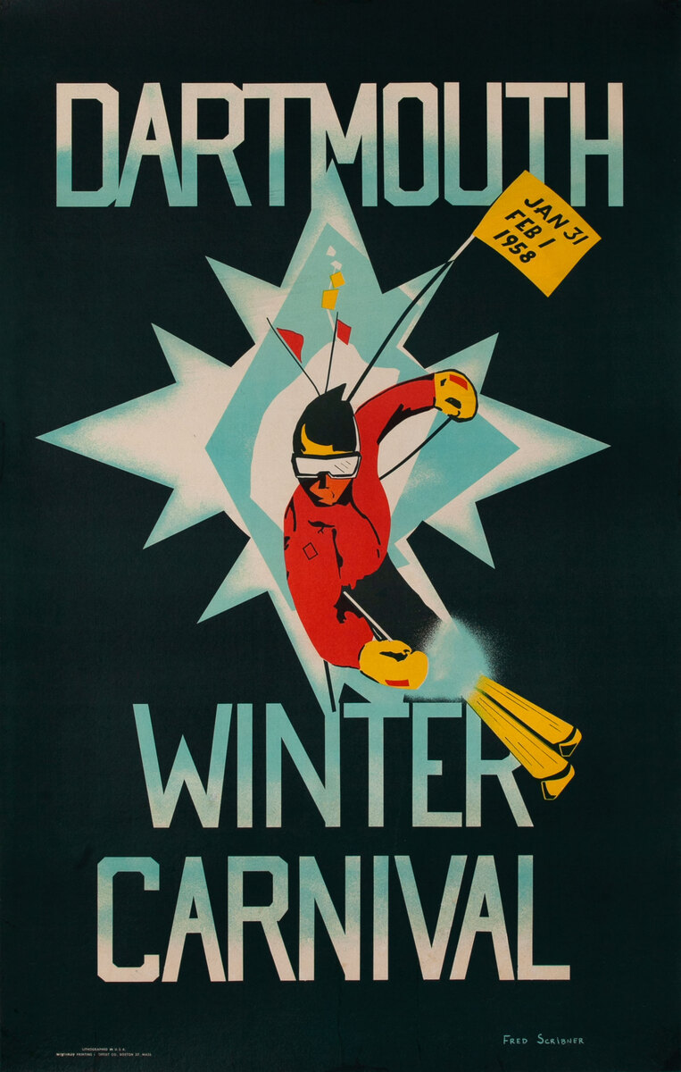 1958 Dartmouth Winter Carnival Poster, Jan 31 - Feb 1
