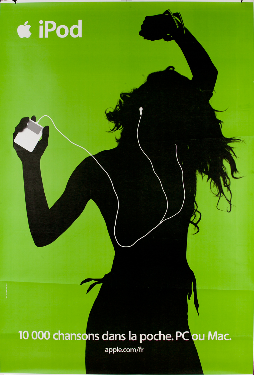 iPod French Apple Advertising Poster Green,10,000 Chansons dans la Poche