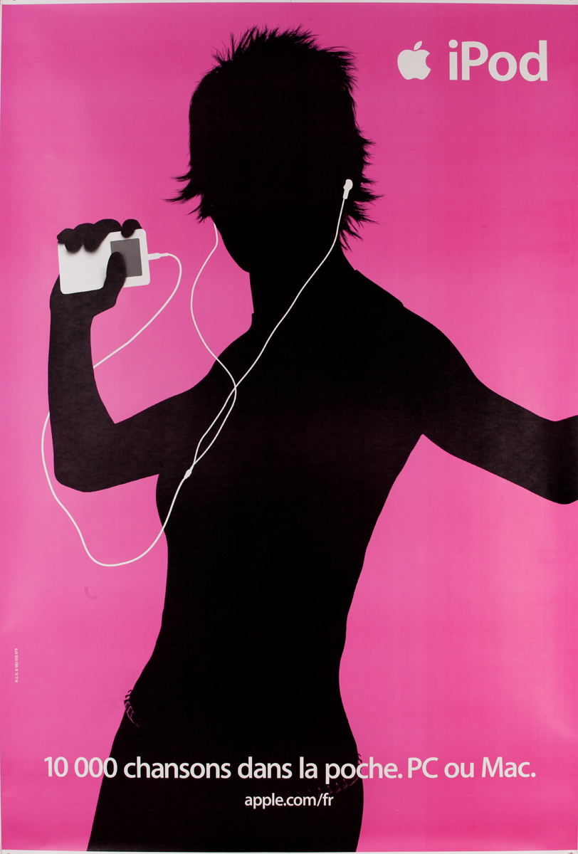 iPod French Apple Advertising Poster Pink, 10,000 Chansons dans la Poche