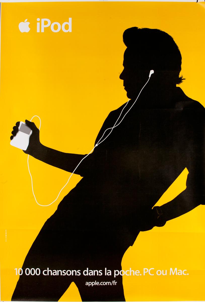 iPod French Apple Advertising Poster Yellow, 10,000 Chansons dans la Poche