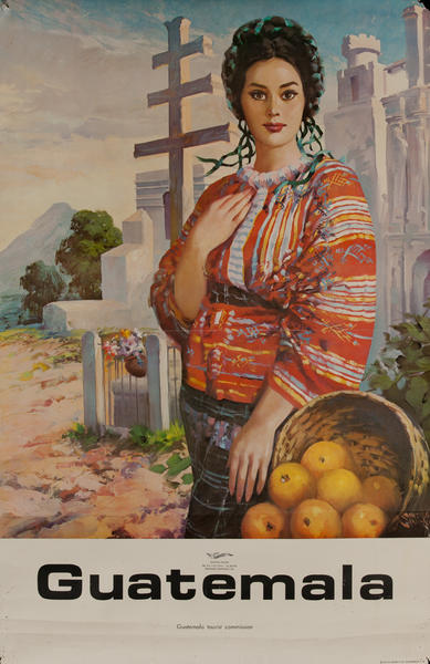 Guatemala Travel Poster, Woman with oranges