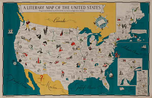 A Literary Map of the United States, Designed and Published by Scholastic the American High School Weekly