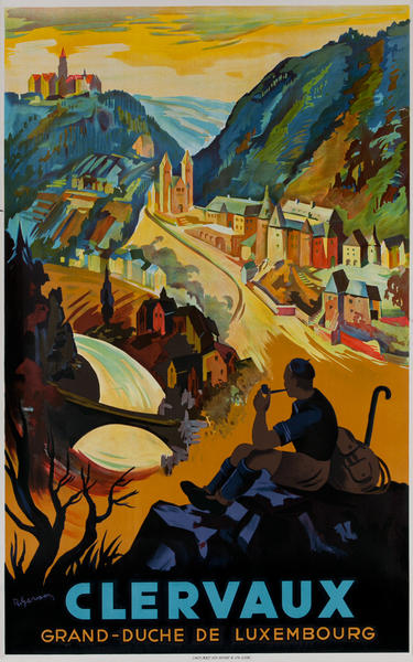 Clervaux Luxembourg Travel Poster, Hiker