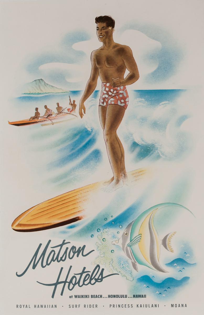 Matson Hotels at Waikiki Beach ... Honolulu ... Hawaii Poster Surfing Guy